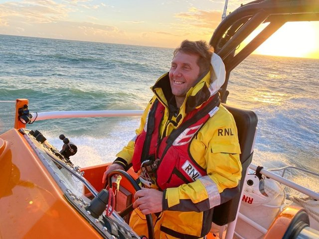 Shoreham lifeboat coxswain Steve Smith driving the all-weather lifeboat. Picture: RNLI