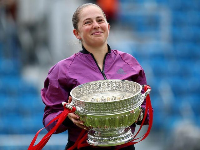 Jelena Ostapenko won her first title on grass at the Eastbourne International