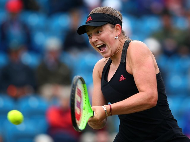 Latvia's Jelena Ostapenko in semi-final action at Eastbourne / Picture: Getty