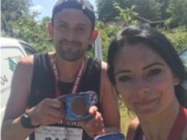 Hailsham Harriers' Lianne Leakey and team mate Carl Barton at the Weald Challenge