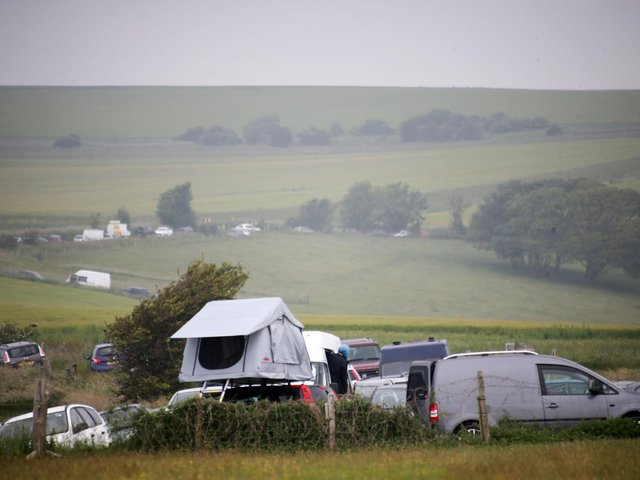 At its height, up to 2,000 people were present at the illegal rave near Bostal Road. Photo: Eddie Mitchell