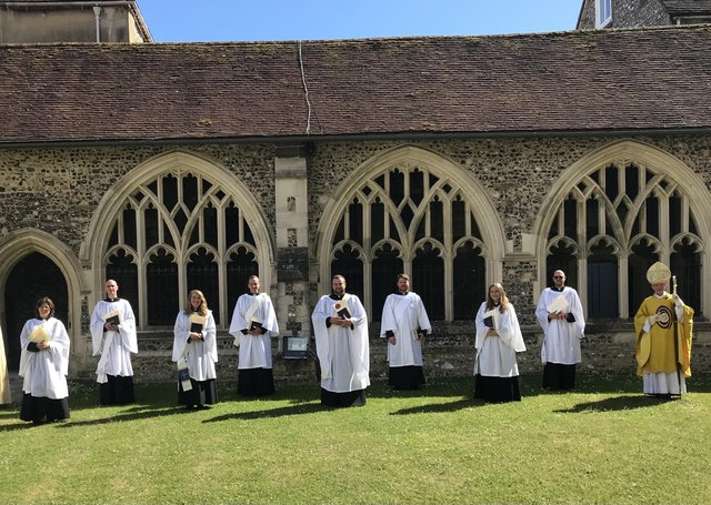The Diocese of Chichester 2021 ordination of eight new deacons, Anna Bouch, Jan Butter, Laura Darrall, Patrick Donovan, Simon Earnshaw, Toby Lancaster, Joe Padfield and Kizzy Penfold