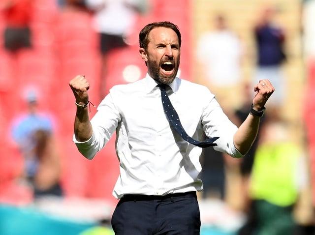 Gareth Southgate celebrates the win over Croatia