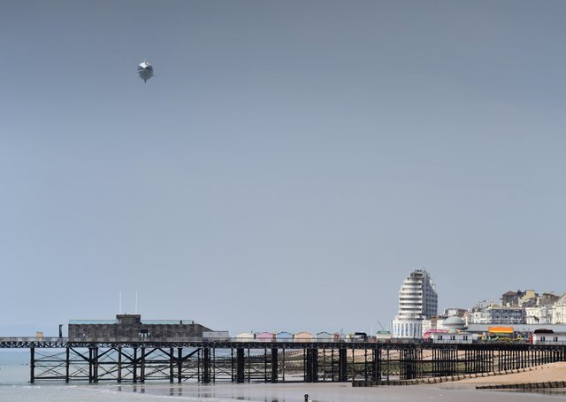 Goodyear blimp flying over Hastings on July 1 2021. SUS-210107-123219001