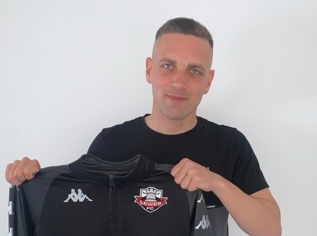 Joe Taylor is one of four new faces in at Lewes this summer - but don't expect manager Tony Russell to crow about it. Picture courtesy of Lewes Football Club