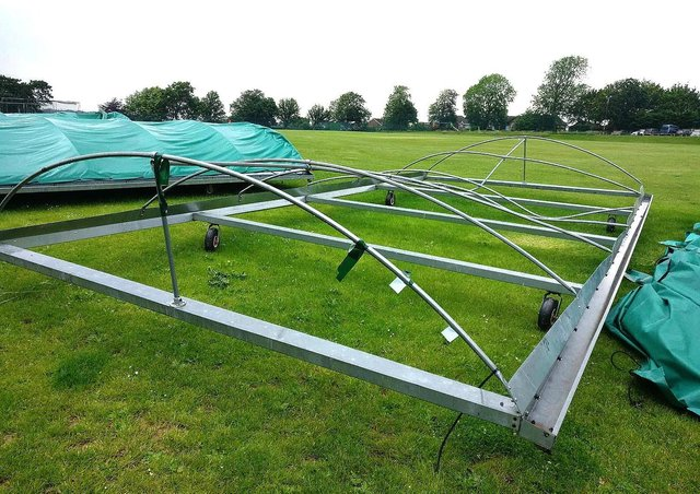 The cricket pitch covers have been damaged. All photos by Ron Hill