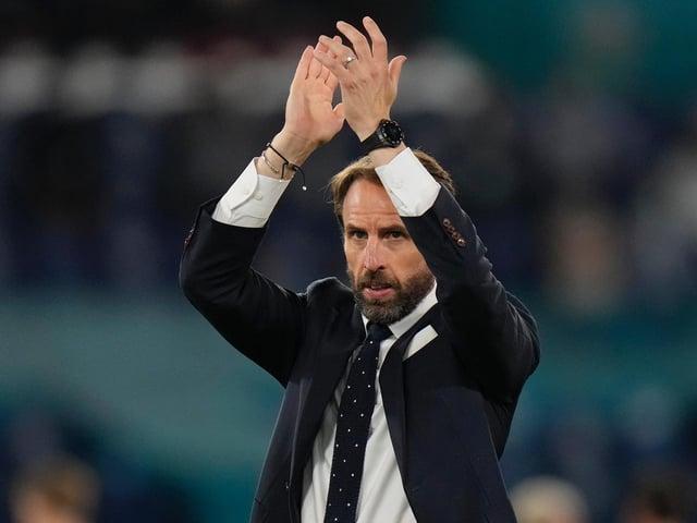 Gareth Southgate celebrates the win against Croatia