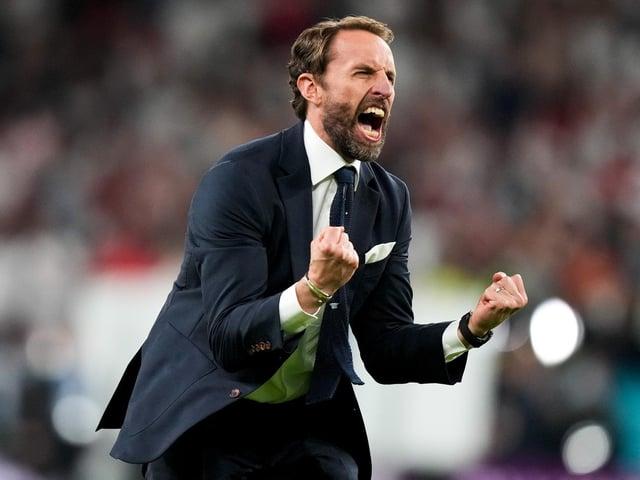 Gareth Southgate celebrates the win