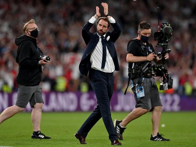 Gareth Southgate celebrates the win over Denmark