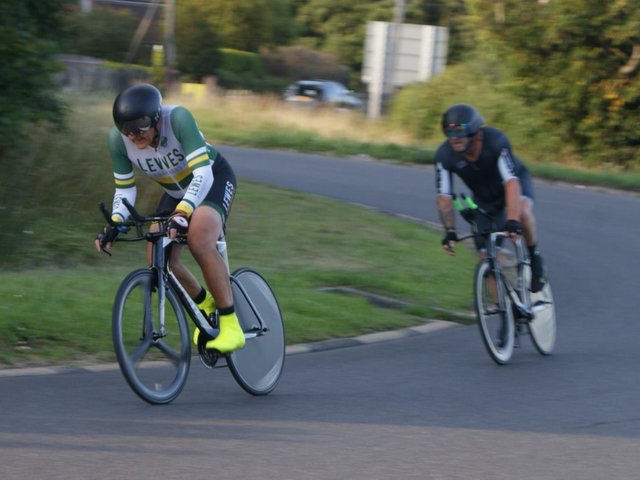 Vince Busk, to whom Lewes Wanderers have paid tribute, cycling with Gavin Richards / Picture: Joe Benians