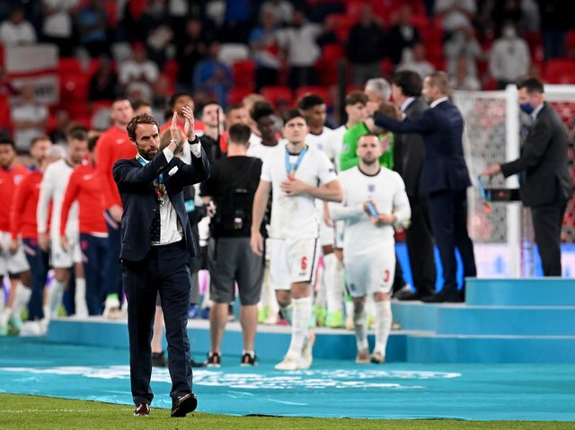 Gareth Southgate leads the team after the presentations