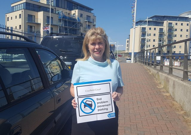 Maria Caulfield MP in Newhaven supporting Guide Dogs campaign against pavement parking