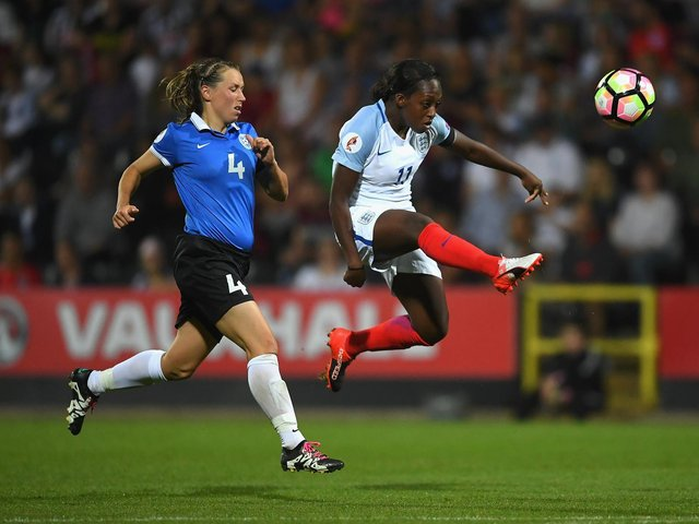 New Brighton & Hove Albion striker Danielle Carter (right) in England action during the UEFA Women's Euro 2017 qualifier against Estonia in 2016. Picture by Laurence Griffiths/Getty Images