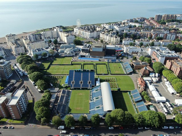Devonshire Park, Eastbourne, from the air / Picture: LTA Viking International Eastbourne